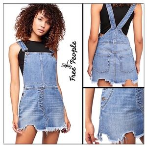 "Free People distressed ""Torn up skirt overalls"""